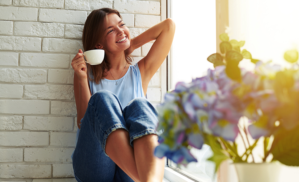 the perfect morning relaxation with a cup of aroma coffee