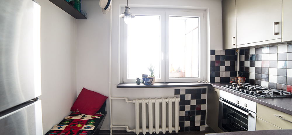 inside bright but small kitchen